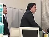 Japanese in stockings gets her pussy fucked in the office